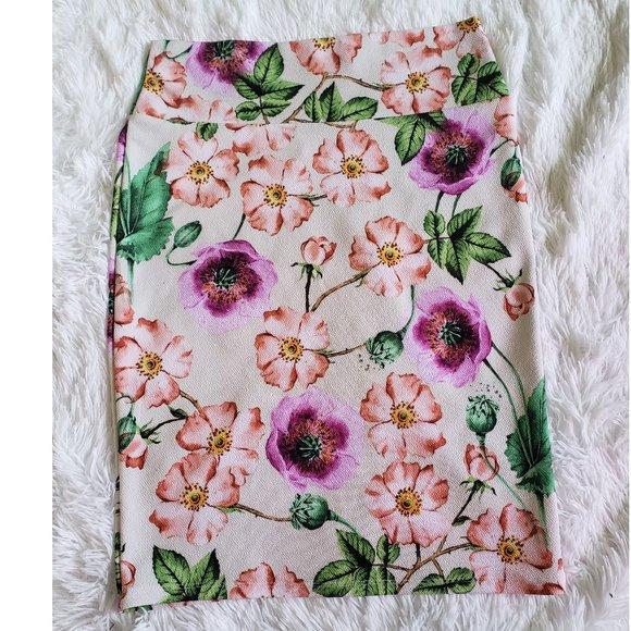 Lularoe Cassie Floral Pencil Skirt Medium Poppy
